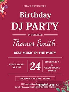 DJ Birthday Party Invitation Template