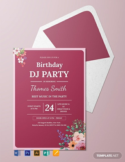 Free DJ Birthday Party Invitation Template