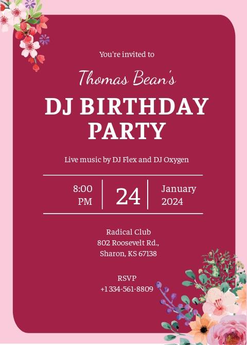 Free DJ Birthday Party Invitation Template.jpe