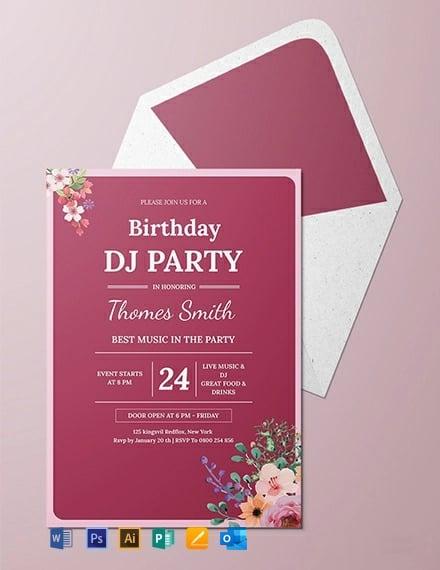 DJ Birthday Party Invitation Template