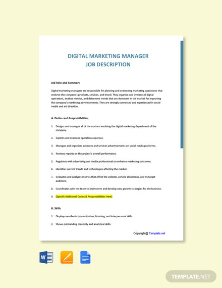 Free Digital Marketing Specialist Job Ad/Description Template