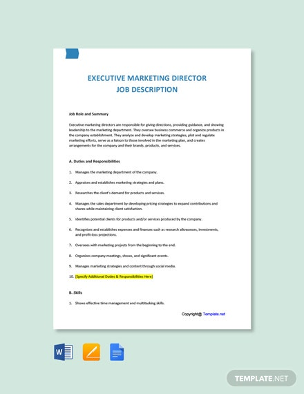 Free Executive Marketing Director Job Ad/Description Template