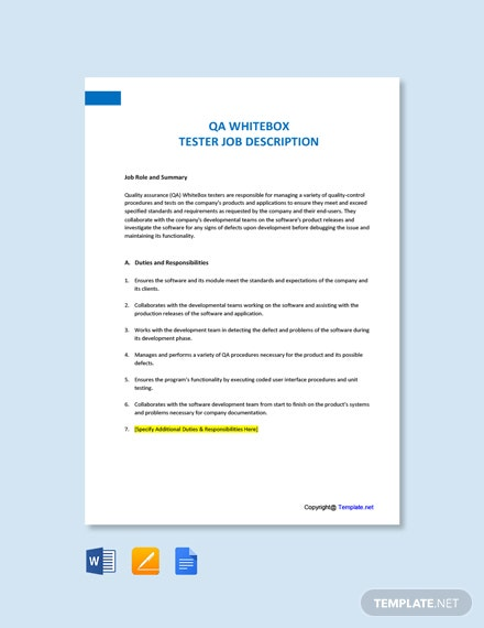 Free QA WhiteBox Tester Job Description Template