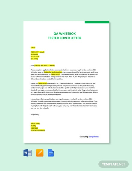 Free QA WhiteBox Tester Cover Letter Template