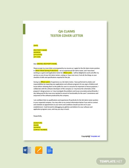 QA Claims Tester Cover Letter Template