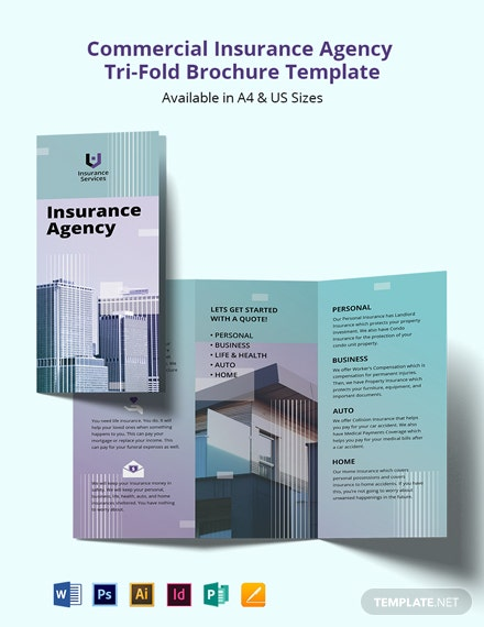 Commercial Insurance Agency Tri-Fold Brochure Template