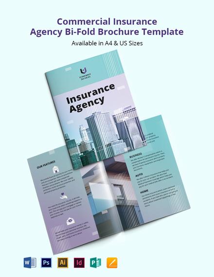 Commercial Insurance Agency Bi-Fold Brochure Template