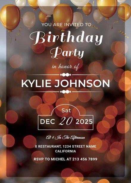 Printable Birthday Party Invitation Template