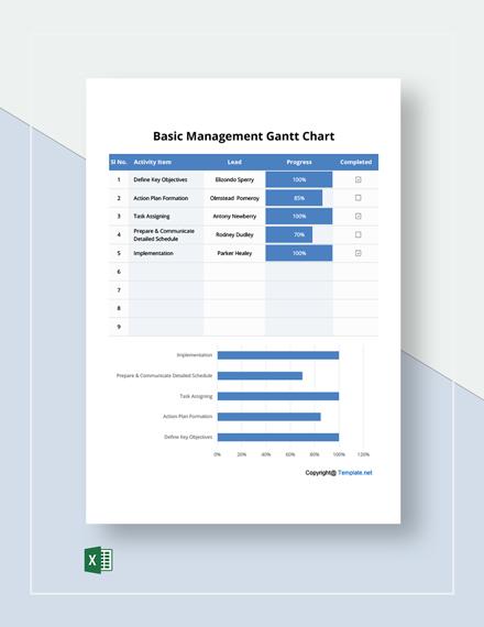 Free Basic Management Gantt Chart Template