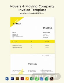 Free Movers & Moving Company Invoice Template