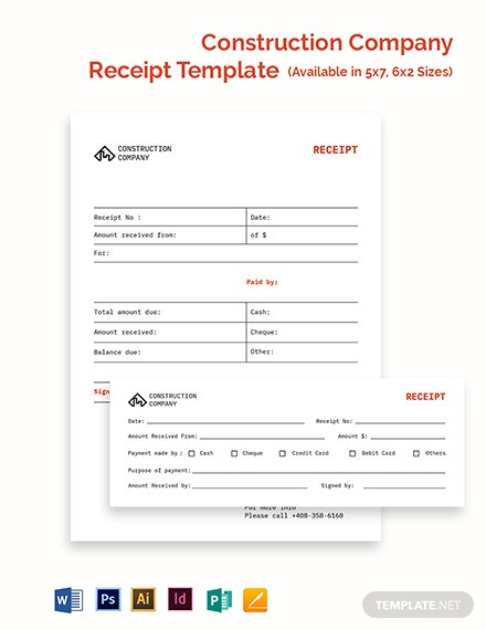 Free Basic Construction Company Receipt Template