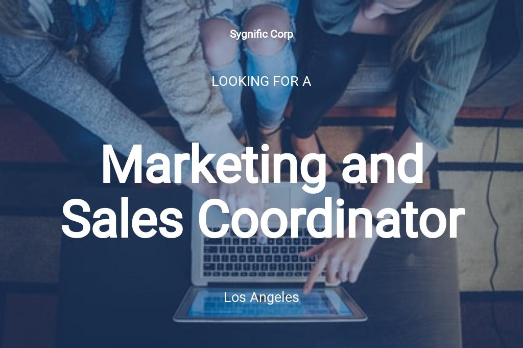 Marketing and Sales Coordinator Job Ad/Description Template