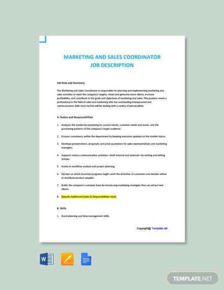 Free Marketing and Sales Coordinator Job Ad/Description Template