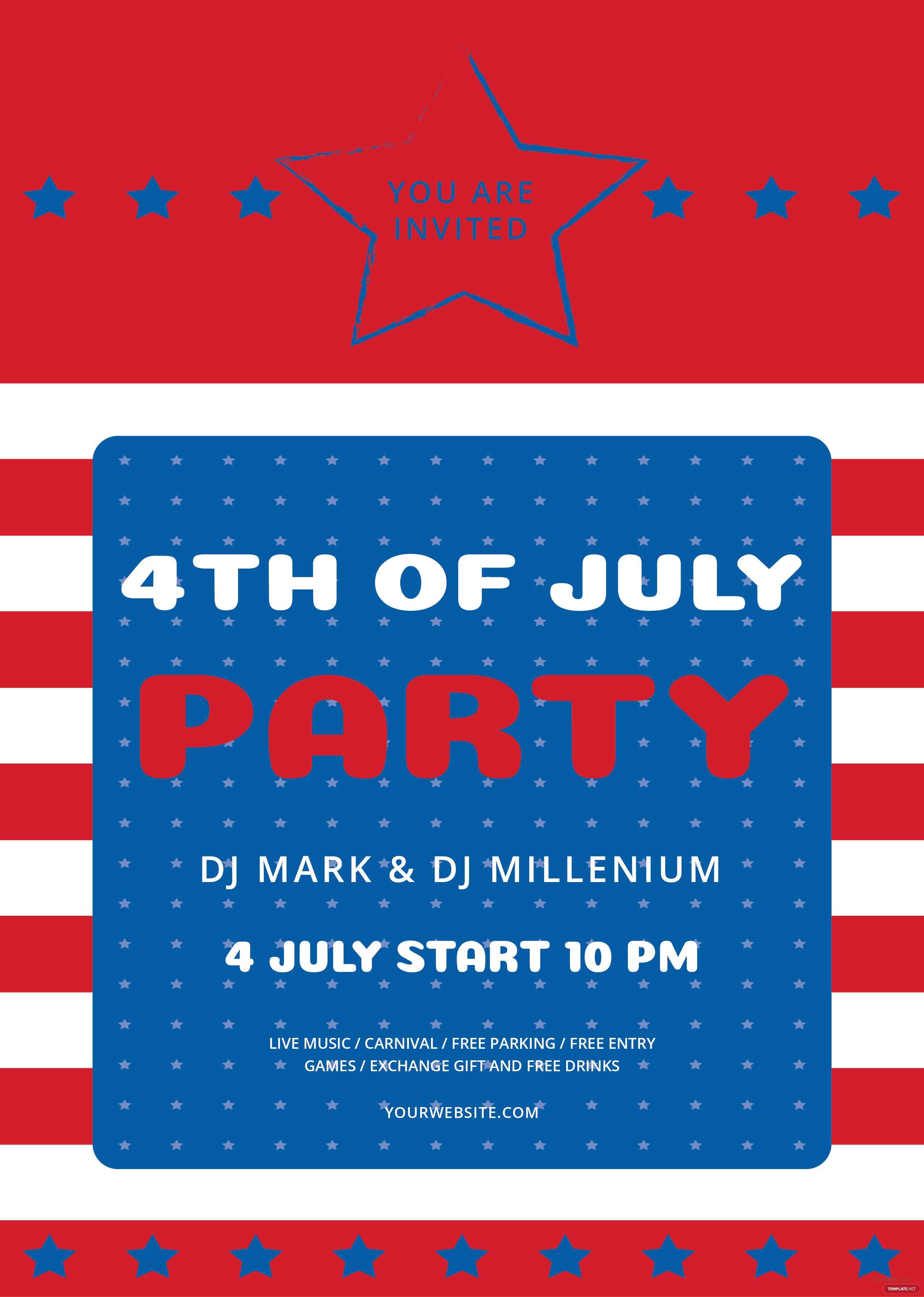 free 4th of july flyer template in abobe illustrator