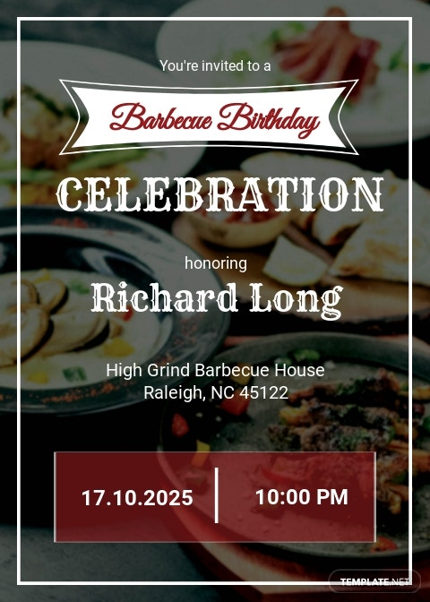Bbq Birthday Party Invitation Template