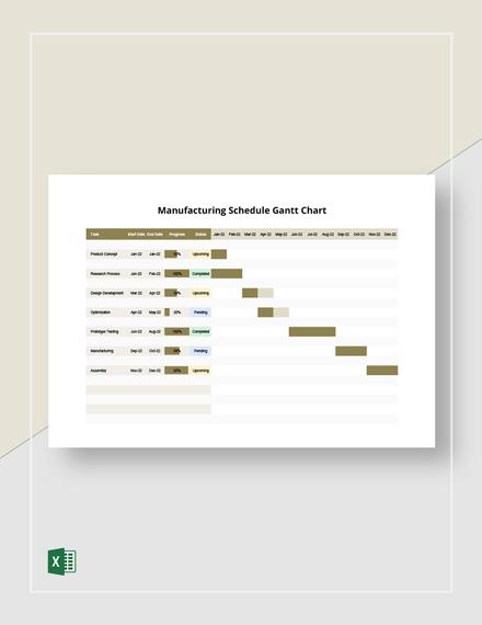 Manufacturing Schedule Gantt Chart Template