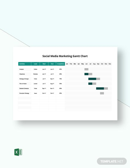 Social Media Marketing Gantt Chart Template