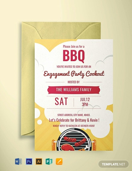photo relating to Free Printable Engagement Party Invitations known as Absolutely free Bbq Engagement Celebration Invitation Template - Phrase PSD