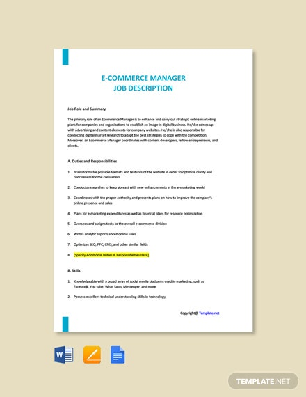 Free eCommerce Manager Job Description Template