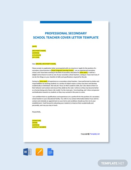Professional Secondary School Teacher Cover Letter Template