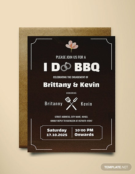 Free I Do Bbq Engagement Invitation Template