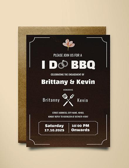 I Do Bbq Engagement Invitation Template