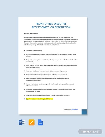 Free Front Office Executive Receptionist Job Description Template