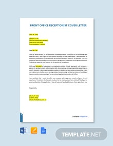 Free Front Office Executive Receptionist Cover Letter Template