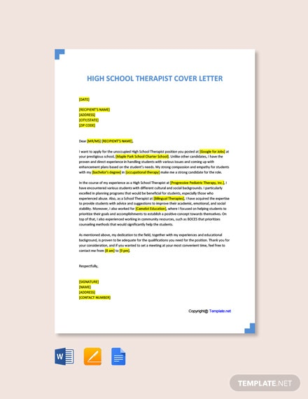 Free High School Therapist Cover Letter Template