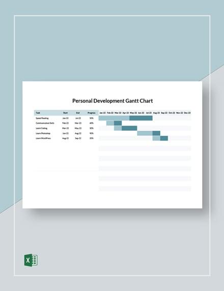 Personal Development Gantt Chart Template