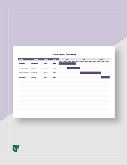 Travel Company Gantt Chart Template