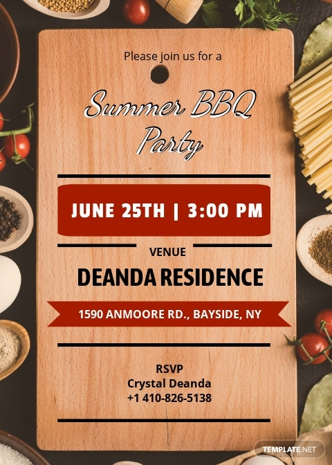 Summer Bbq Party Invitation Template
