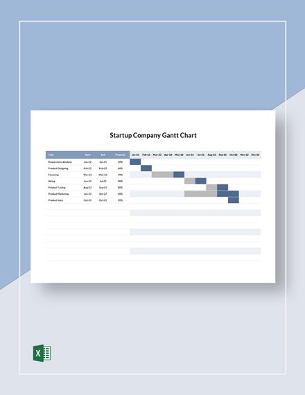 Startup Company Gantt Chart Template