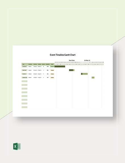 Event Timeline Gantt Chart Template