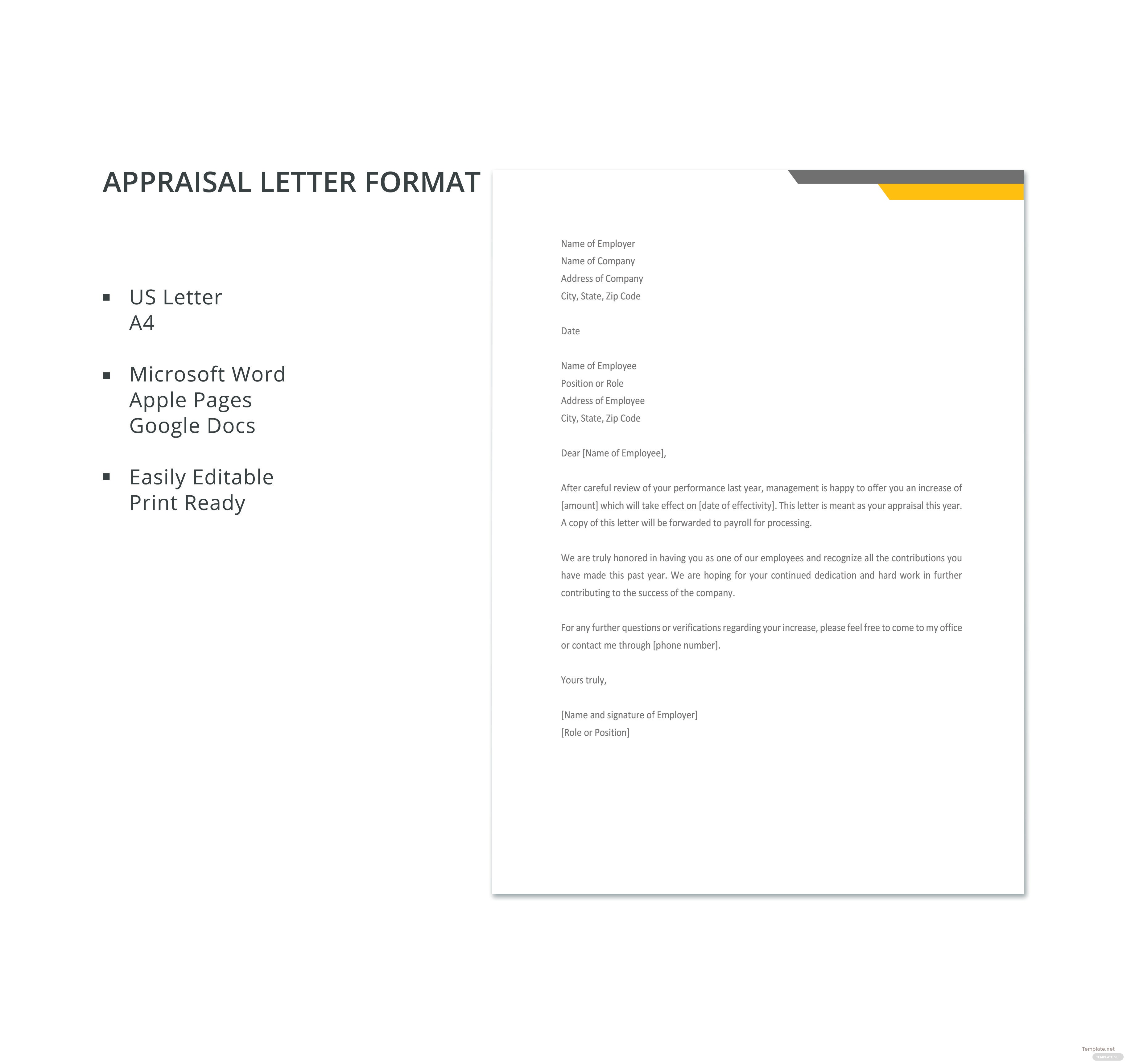 click to see full template appraisal letter format