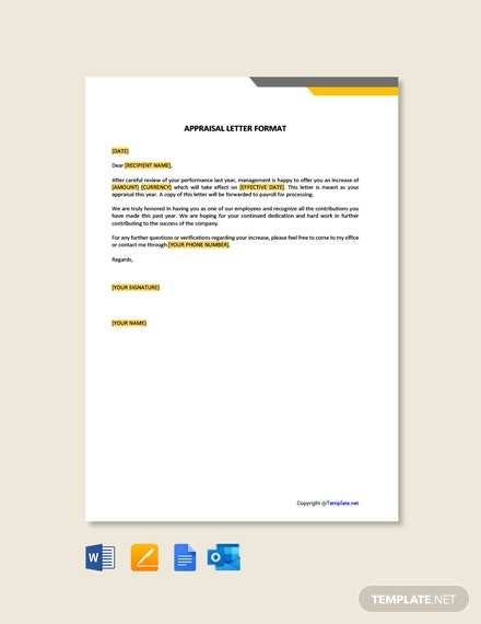 Free Appraisal Letter Format