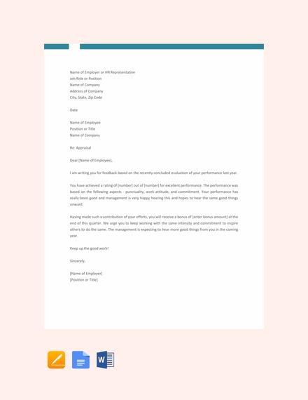 Free Appraisal Letter Sample