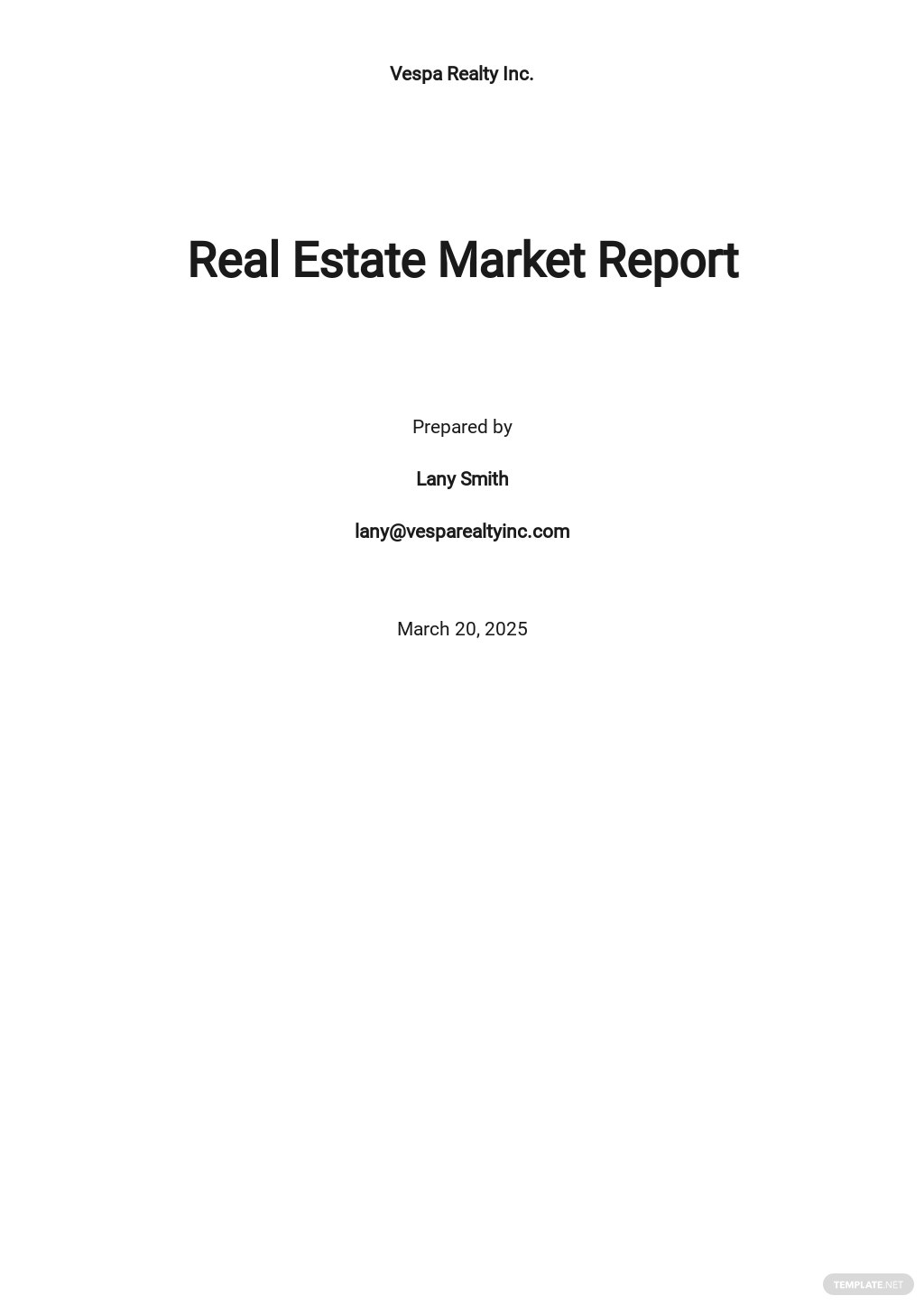 Real Estate Market Report Template