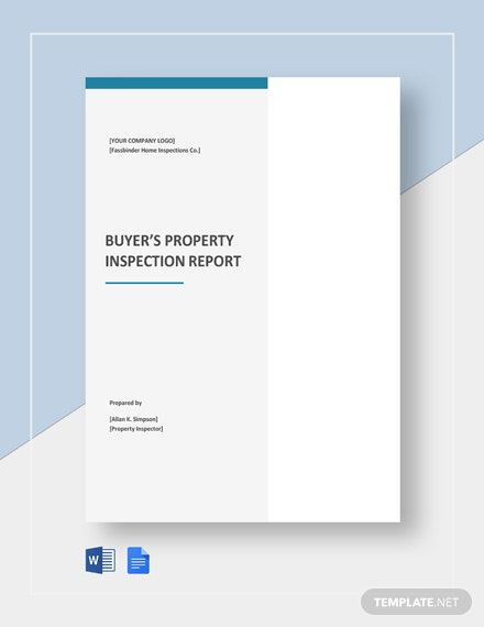 Buyer's Property Inspection Report Template