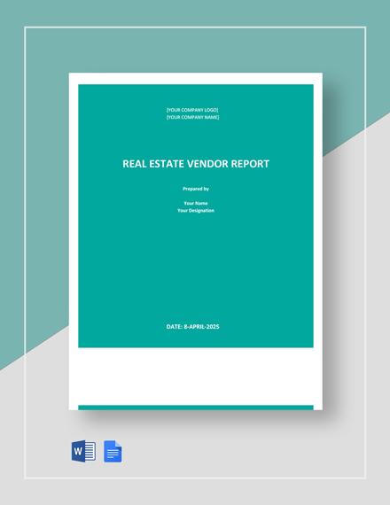 Real Estate Vendor Report Template