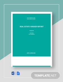 Real Estate Vendor Report Template