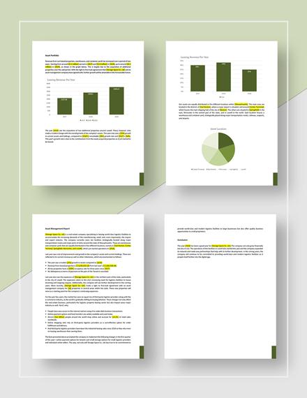 Sample Real Estate Asset Management Report