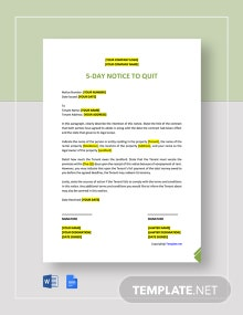 Free 5-Day Notice to Quit Template