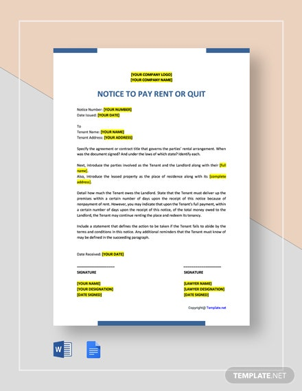 Free Notice to Pay Rent or Quit Template