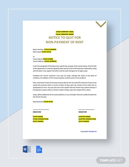 Free Notice to Quit for Non-Payment of Rent Template