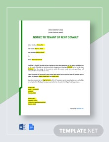 Free Notice To Tenant of Rent Default Template
