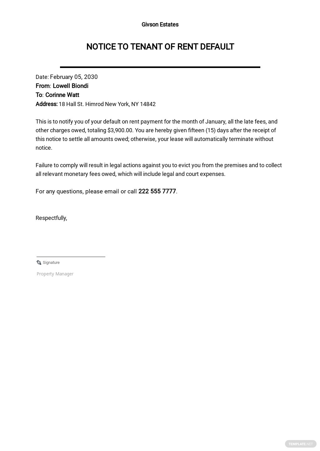 Free Notice To Tenant of Rent Default Template.jpe