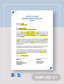 Landlord Notice of Termination of Lease Template