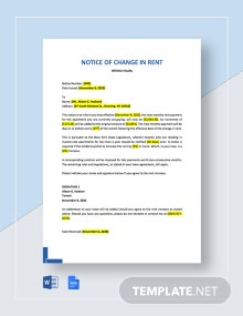 Notice of Change in Rent Template