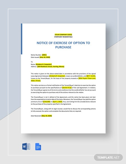 Notice of Exercise of Option to Purchase Template